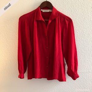 [Banco] Vintage Long Sleeve Silk Red Blouse